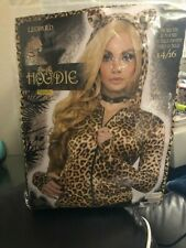 Leopard Hoodie With Ears Womens Adult Wild Cat Costume Sweater New!!!