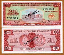 Specimen Dominican Republic 1000 Pesos Oro ND (1964-1974) P-106s UNC > ESPECIMEN