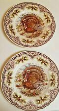 "The Victorian English Pottery Turkey 2 Salad Plates Turkey 8 1/2"""