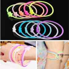 10pcs Luminous Neon Silicone Gummy Loom Rubber DIY Hair band Wristband Bracelet