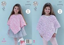 King Cole Yummy Knitting Pattern 4537 Easy Knit Ponchos
