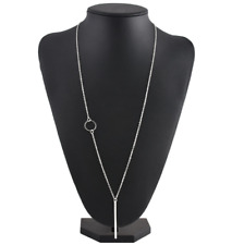 Elegant Decent Looking Long Silver Chain/Necklace with a Stick Bar Pendant