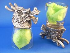 Dragon Animal Head Shot Glasses - Set of 2 - Glass & Pewter