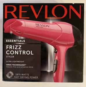 Revlon Essentials Frizz Control Ionic Hair Dryer Styler Lightweight Pink RV474