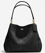 New Coach 28997 Lexy Pebble Leather Shoulder Bag handbag Black with Gold
