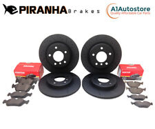 VW Golf 2.0 GTi 13- Front Rear Brake Discs Pads Coated Black Dimpled Grooved