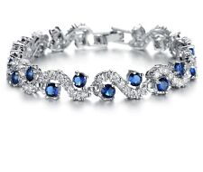 7.5 Carat TDW Blue & White Diamond Chevron Bracelet in 14k Gold Finish