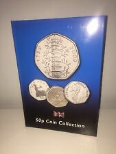 2017 Up To Date 50p BLUE Coin Collectors Album Coin Hunt 30 Spaces NoCoins