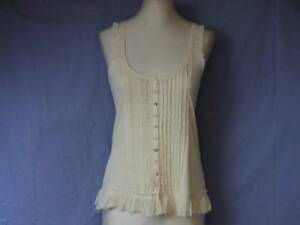 """RIVER ISLAND CREAM RIBBED BEAD VEST TOP SHIRT FEATURE BUTTONS LADIES 8 CHEST 27"""""""