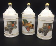 3 Antique Car Gold Trim Glass Apothecary Jars Diamler 1905 Dion Bouton 1903