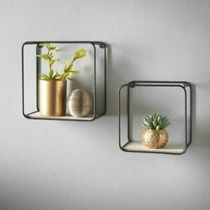 Metal Wire Floating Wall Shelf Multi Section Home Decor Set of 2 Gold / Black