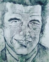 JOHN F. KENNEDY JR. 3   PORTRAIT Turner 2020 Original Ink Zeichnung freihand