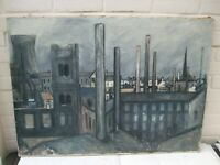 20TH CENTURY WATERCOLOUR ON CANVAS A VIEW OF INDUSTRIAL LANDSCAPE BY PETTY