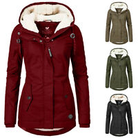 Women's Warm Coat Jacket Outwear Fur Lined Trench Winter Hooded Parka Overcoat
