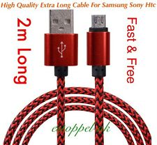 2M Fast Charge Braided USB Lead Charging Cable For Samsung Galaxy S4/5/6/7 Edge
