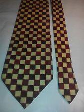 Hardy Amies Men's Vintage Tie in a Red Beige and Black Geometric Pattern