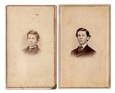 lot 2 CDV of same boy a few yrs apart Delaware Oh. tax stamp,advertising on back