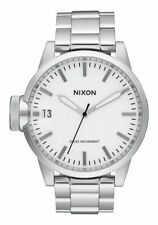 NIXON CHRONICLE 44 MENS ANALOG WATCH SPORT SILVER BAND WHITE FACE A441100 NO BOX