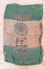 Vintage Tuxedo Dairy Feed Sack Burlap Bag 100 lb. Double Side Printing