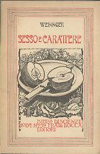 Otto Weininger: Sesso e carattere Bocca 1945