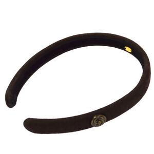 Authentic CHANEL CC Logos Logos Hair Headband Dark Brown Suede Vintage AK25690i