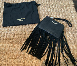 Zadig Voltaire Black Snake Suede Leather Mini Uma Fringe Wristlet Bag NWT