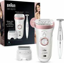 Braun Silk-épil 9 SensoSmart™ 9/890 Epilatore Elettrico da Donna Senza Fili Wet & Dry con 7 Accessori - Bianco/Oro Rosa