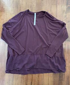 LULULEMON Ease of Mind Long Sleeve T-Shirt Oversized Top Bordeaux Drama size 8