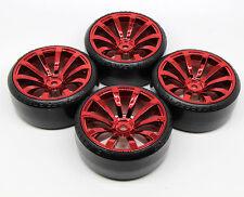 4 PCS RED Samurai Wheel Rim +Hard Plastic Drift Tires FOR 1/10 RC On Road Car