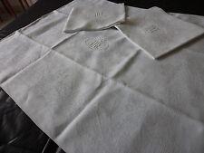 """3 BELLE SERVIETTE TABLE EN LIN MONO  """" M J """" FLEUR LYS, RUBANS / TOWELS BLANCHE"""