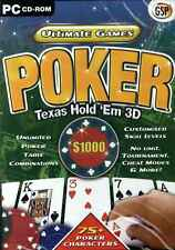 Ultimate Games Poker, Texas Hold 'Em 3D PC Game, XP NEW