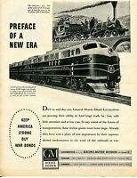 1944 The LaFayette 1837 B&O Baltimore & Ohio GM Diesel Locomotive Train Ad
