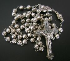 Tibet Silver rose Our Father beads Rosary case Cross Gift Box Catholic crucifix