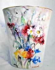 "Goebel Berta Hummel Gallery Vase Summer Wild Flowers 9.25"" 22K Gold Trim MIB"
