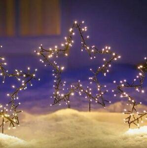 Gartenstecker STERN Led Lichterkette Weihnachtsdeko Silhouette Advent 38 cm