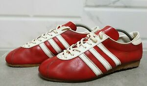 Vintage 1970s Adidas Hobby UK 7.5 Made Austria Red/White US 8 Trainers Sneakers