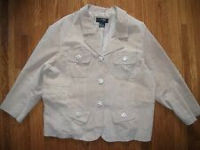 OUTER EDGE Womens 3X Beige Suede Leather Jacket Lined GENTLY WORN