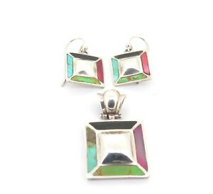 .Sterling Silver Four Tone Stone Inlaid Hinged Pendant & Matching Earrings 16.9g