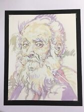 Portrait Old Man/Saint.Beard.Original Watercolour Painting,Style of Old Masters.