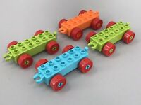 Lego Duplo Vintage Vehicle Car Train Truck Bases Lot of 4 w/ Red Wheels