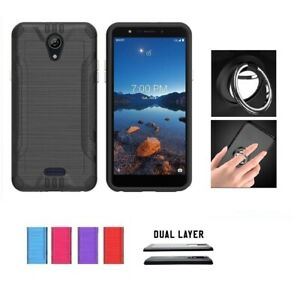 For Wiko Ride 2, Dual Layer Brushed Shockproof Cover Case + Ring/ Kickstand