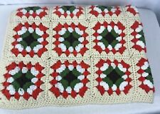 Afghan Granny Square Throw Blanket Cream Orange Green VTG