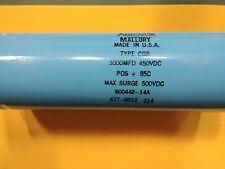 Mallory aerovox 3000mfd 450vd 500v Surge Capacitor