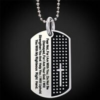 Pendant Necklace Dog Tag Carved Cross And Bible Verse Christian Jewelry Men Gift