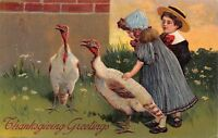 PFB Thanksgiving~Victorian Children Pet White Turkey~Daisy Meadow~Embossed~1908