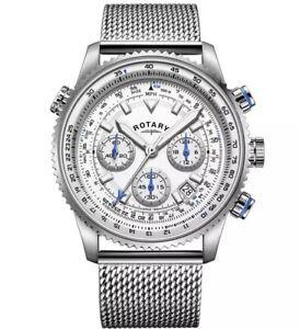 Rotary Men's Silver Dial Chronograph Mesh Bracelet Pilot Watch Gents GB03107/06