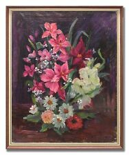 PINK FLOWERS - 1930´s Original Swedish Oil Painting