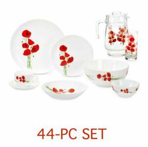 Luminarc Hypnosis 44-pc Dinner Set, Plates Set, Tempered Glass, Red Poppy