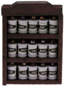 Dolls House Dark Oak Rack with Spice Jars Miniature 1:12 Kitchen Accessory