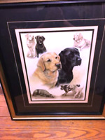 Artist Nigel Hemming, Illustration Black Labrador Retrievers Dogs Print  28x24